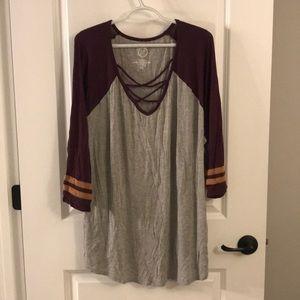 Cozy strappy-neck 3/4 sleeve T-shirt